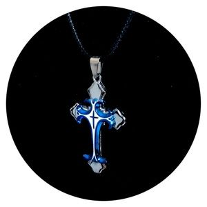 Celtic Blue Silver Tribal Cross Necklace Pendant